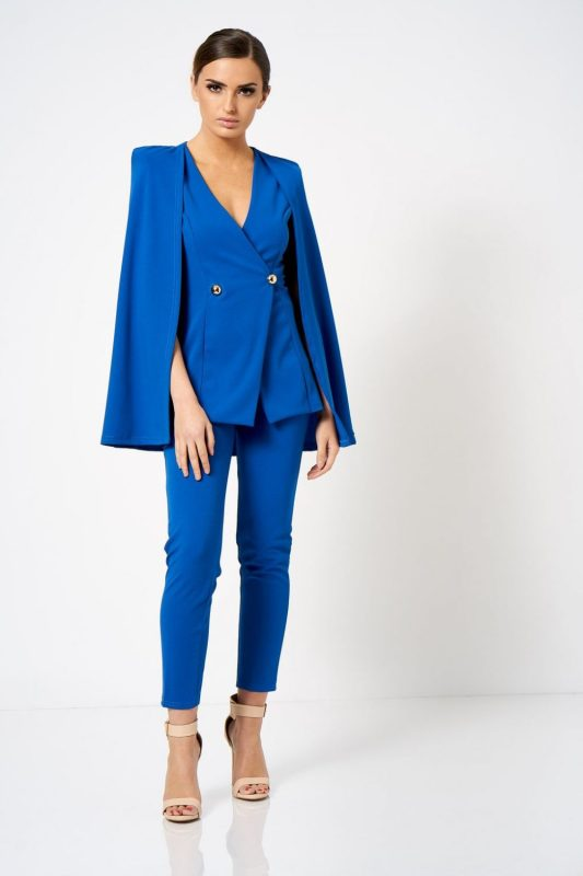 wersm blue blazer with cape detail