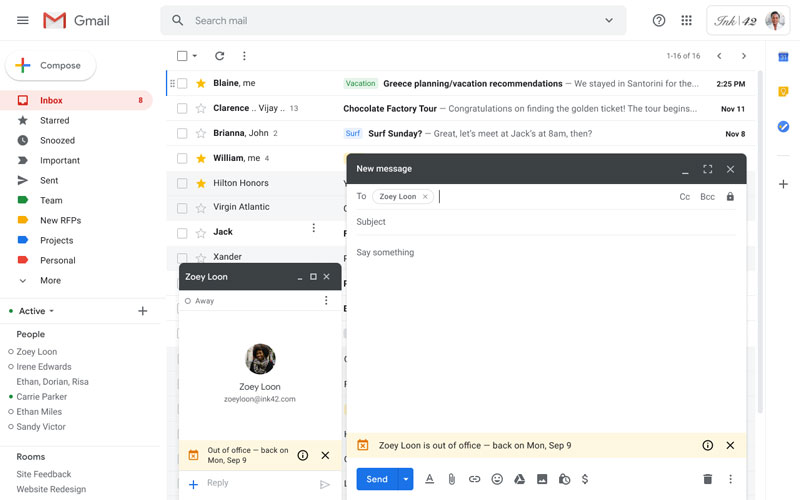 gmail out of office