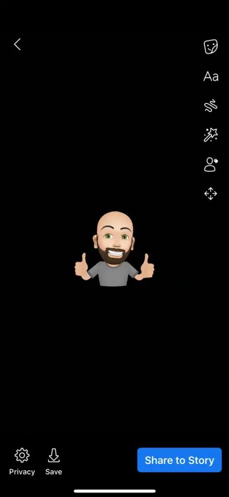 Facebook avatars in stories