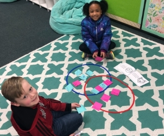 Students working with cards and circles