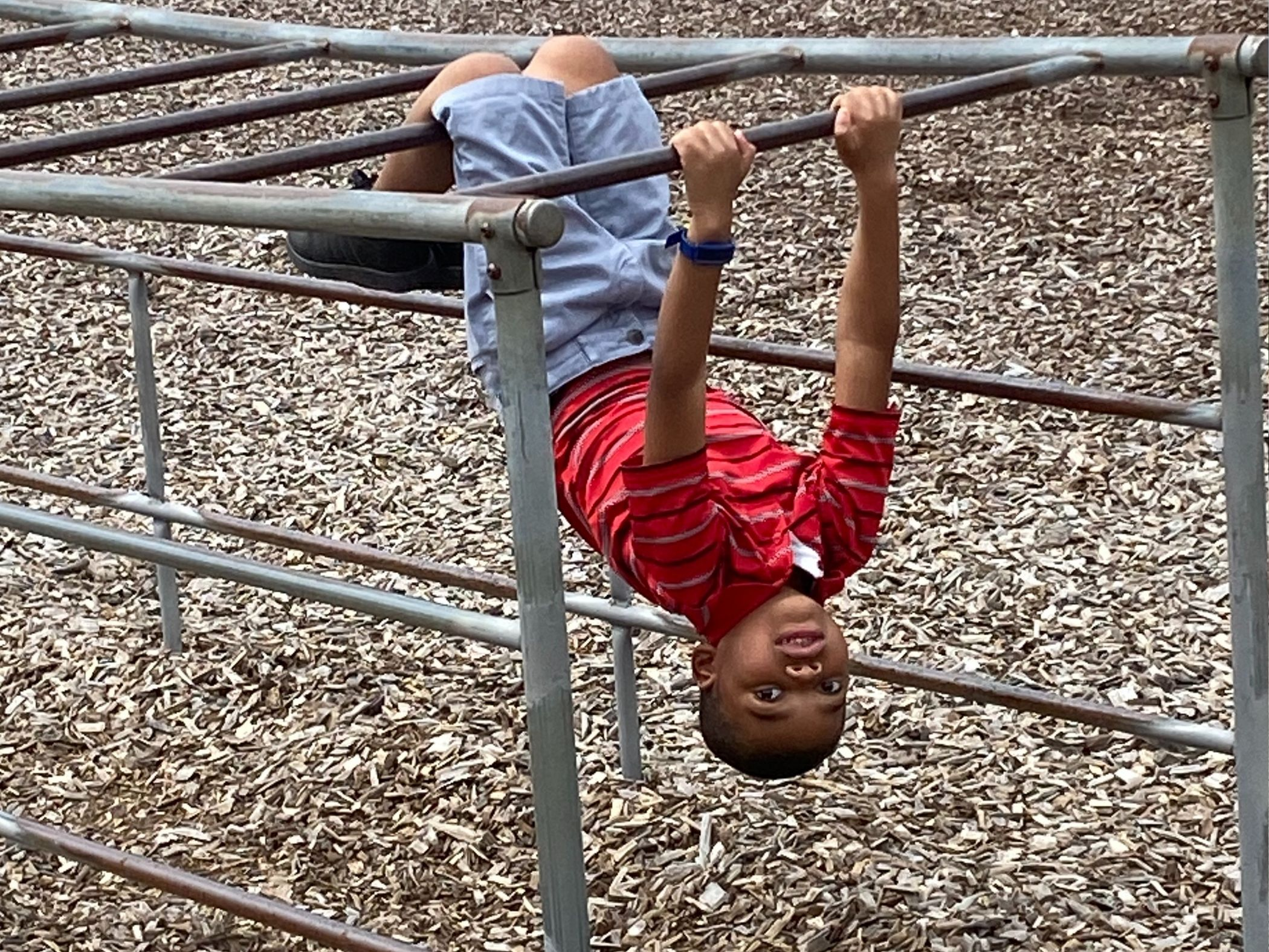 Child on monkey bars outside