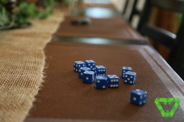 Dice for playing Tensi. The placemats are needed to protect our wooden table. The dice corners slowly put tiny dents without the protection.