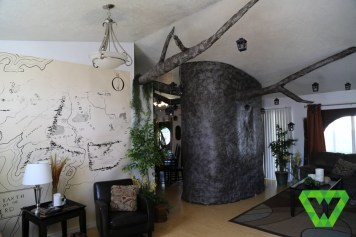 The living room, the paper mache tree and map.