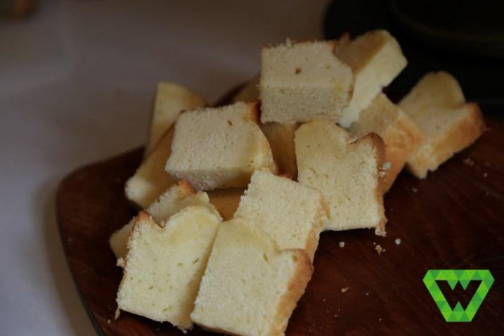Homemade pound cake cut up