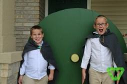 Justin and Parker at the Hobbit Door