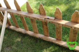 The palate fence posts. Simple tent stakes were used to keep it in the ground. A nail gun came in handy.