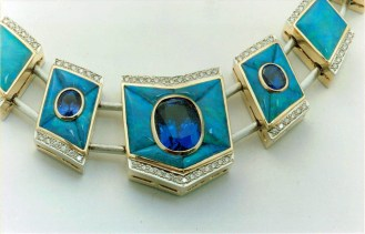front view 1 '18KT WHITE & YELLOW GOLD TANZANITE & BLACK OPAL NECKLACE (CHRISTOPHER CORDOVA 2001)