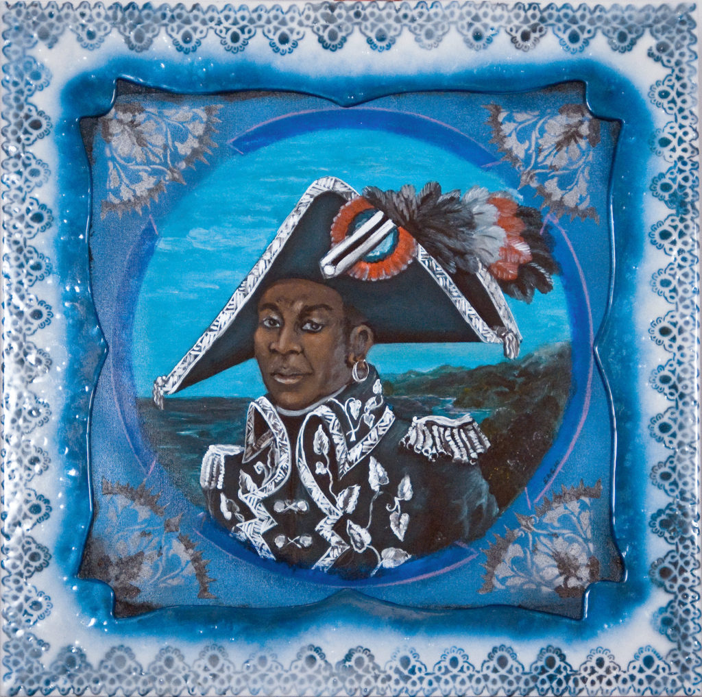 """""""Toussaint Blue,"""" mixed media in artist frame, 33 x 33 x 3 in., © 2014"""