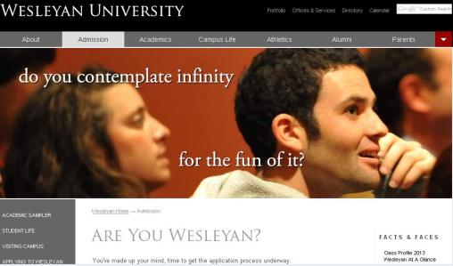 wesleyan new homepage