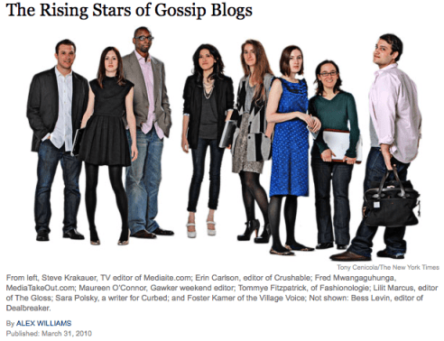 NYTimes Rising Stars of Gossip Blogs