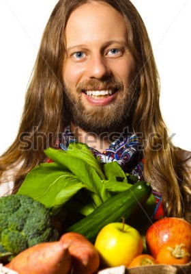 "let it be know that the description for this photo was ""stock-photo-good-looking-bearded-hippie-man-holding-a-bag-of-fresh-organic-fruit-and-vegetables-isolated"""