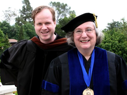 This photo commemorates Joss Whedon '87 presenting Basinger with an honorary degree from the American Film Institute Conservatory in 2006. The two shared the stage again this past year when Whedon received an honorary degree and delivered the commencement speech and Basinger earned Wesleyan's Binswanger Prize for Excellence in Teaching.