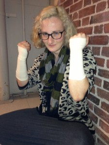 The author with her injured wrists
