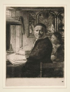Rembrandt Harmensz van Rijn. Lieven Willemsz van Coppenol, Writing-Master: The Smaller Plate, ca. 1653 (Hind) or ca. 1658 (Boon and White). Etching; 10 1/8 x 7 1/2 in. Yale University Art Gallery, Fritz Achelis Memorial Collection, Gift of Frederic George Achelis, B.A. 1907; 1925.136.