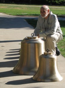 Professor of German Studies, Emeritus, Peter Frenzel with two of the Wesleyan bells
