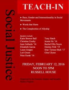 Social Justice Teach-In Flyer