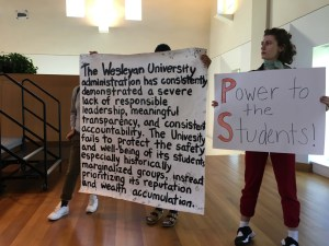 Poster from students occupation of Roth's address to parents at October Admissions Open House. In partial response to Backer news.