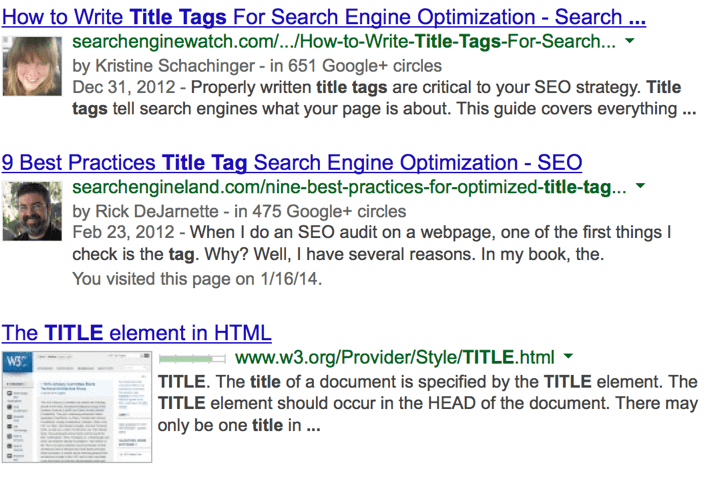 Title Tag Search Engine Usage