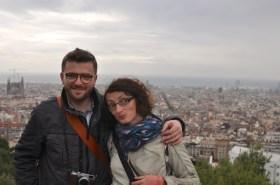 z siostrą w Par Guell