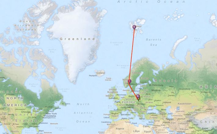 trasa naszej podróży: Kraków - Łódź - Oslo - Svalbard