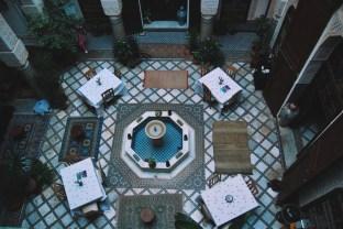 Riad Sara, Fez, Maroko, widok z góry na ogród
