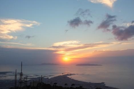 zachód słońca z Erice