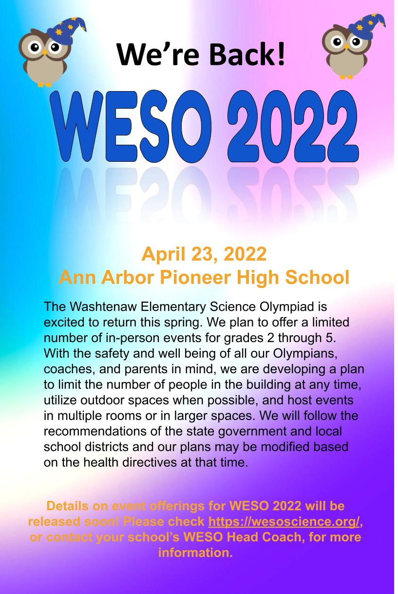 WESO 2022 Announcement Flyer