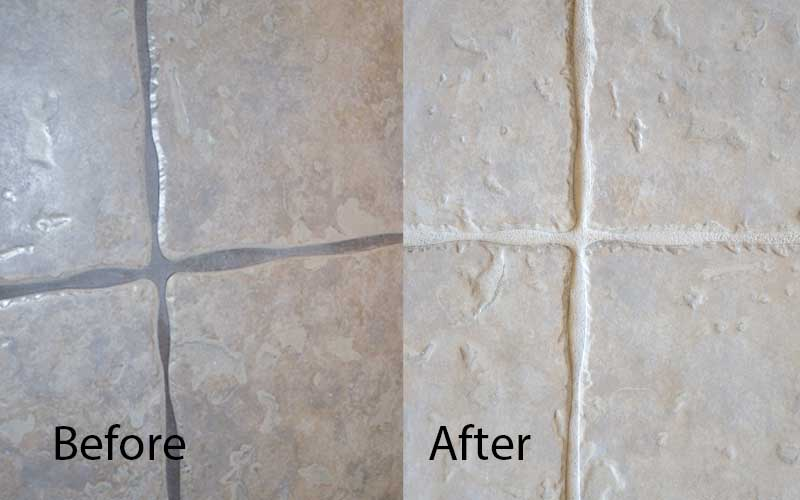 grout lines before and after applying grout stain