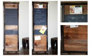 scrap lumber for chalkboard bulletin board