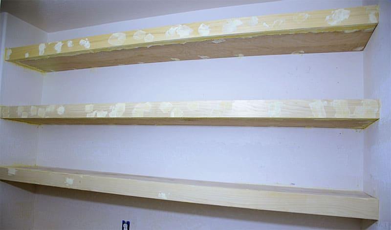 chunky shelves ready for sanding