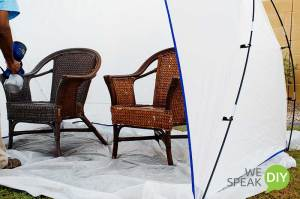 wicker chairs during painting