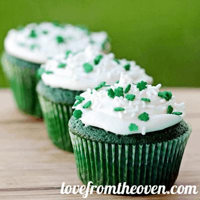 Green Velvet Cupcakes  Recipe for St. Patrick's Day