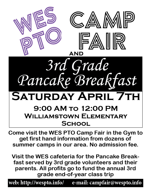 Camp Fair and 3rd Grade Pancake Breakfast - April 7th, 9am - 12pm