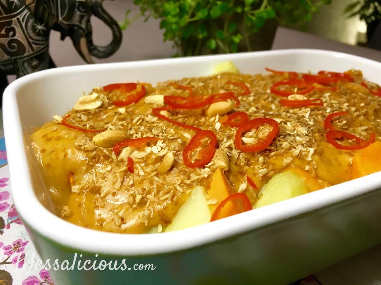 bijgerecht Zoete aardappel met romige pindasaus