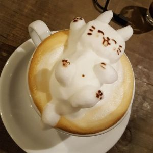 3D latte art Lucky Cat