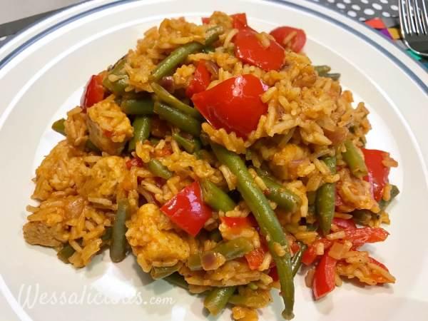 rijstschotel Pilav met sperziebonen