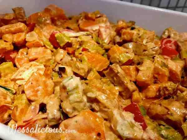Zoete aardappelschotel met creme fraiche
