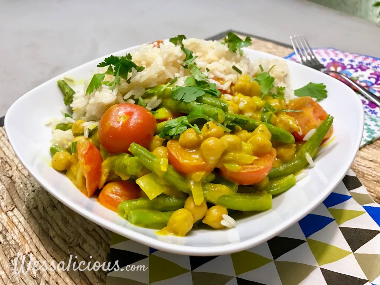 Gele curry met kikkererwten