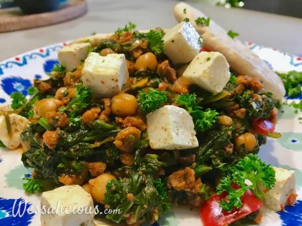Lekkere Griekse kikkererwtenstoof met spinazie