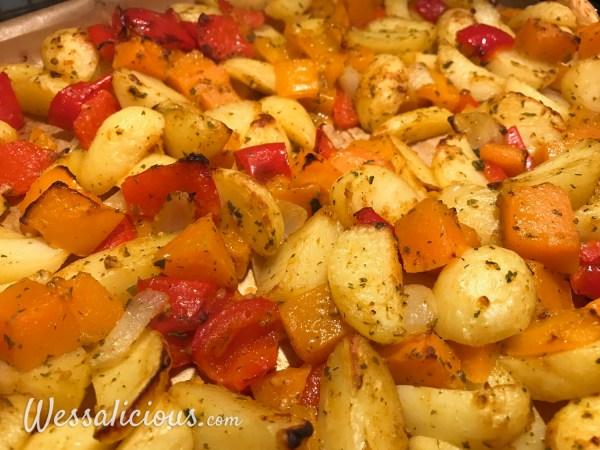 Aardappel roast met pompoen