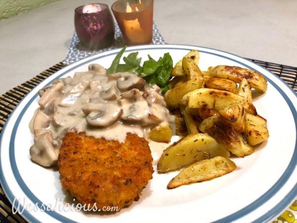 aardappelpartjes met champignonroomsaus