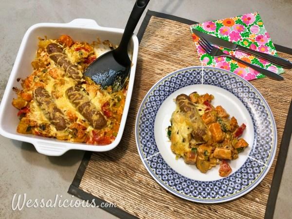 Zoete aardappel ovenschotel met prei