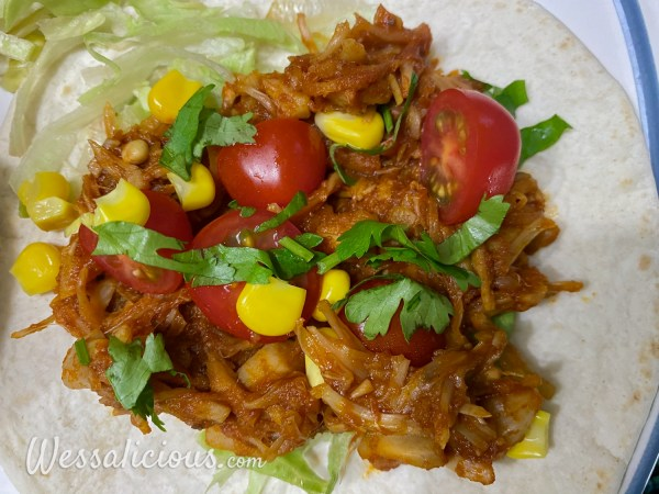 Guacamole aardappel met pulled jackfruit taco's