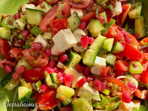 Libanese linzensalade met granaatappel