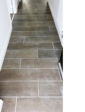 Grout Haze Before Removal from Wood Effect Porcelain floor tiles