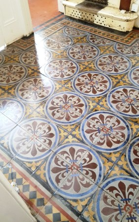 Encaustic tiled hallway after restoration in Chester