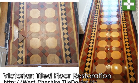 Victorian tiled hallway before and after restoration in Warrington