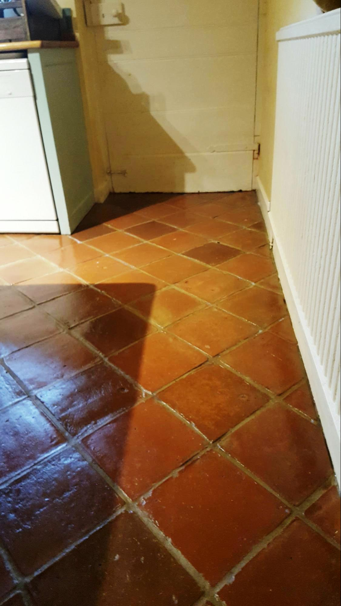 Old Terracotta Kitchen Floor After Cleaning Runcorn