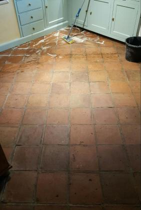 Old Terracotta Kitchen Floor Before Cleaning Runcorn