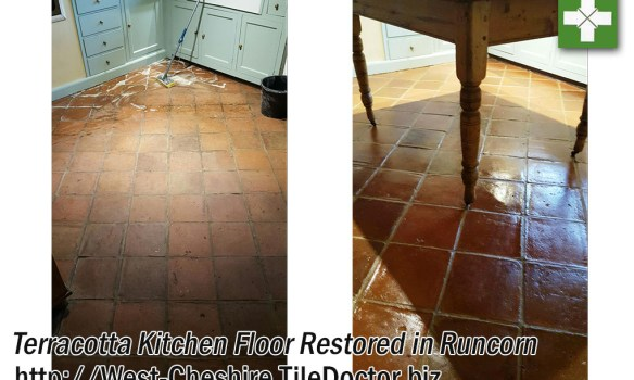 Terracotta Tiled Kitchen Floor Restored in Runcorn